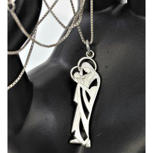 """925 STERLING MADONNA vintage religious Creed pendant mother & child 24"""" SU chain"""